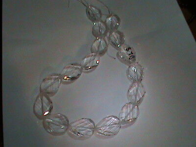 Strand Genuine Rock Crystal Amazing Drilled Faceted Twist Drops 25x18 Very Clean