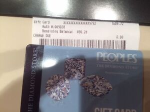 Peoples Jewelers Gift card value $890.28