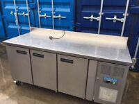 Polar DL917 417 Ltr 3 Door Freezer Prep Counter with Upstand
