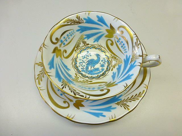 Vintage Royal Chelsea TURQUOISE BLUE BIRD Bone China Cup & Saucer Gold 3800a