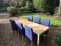 Extendable Ikea pine table and 6 blue chairs