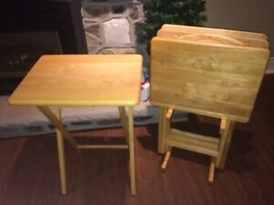 Solid Wood, Nearly-New Sturdy 4 TV Tables with Stand & MORE