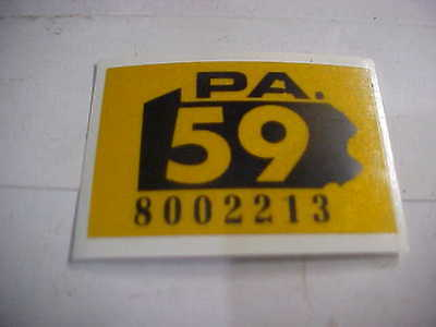 1959 pennsylvania  license plate  registration sticker