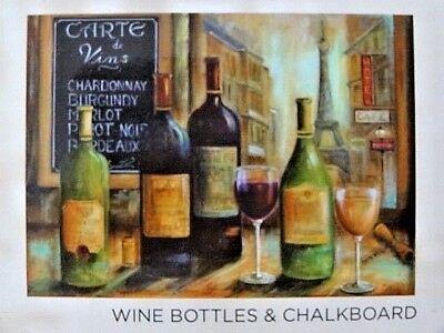 Wine Bottles Chalkboard Placemats Set of 4 Foam Plastic Wipe Clean Tabletop - Chalkboard Wine Bottles