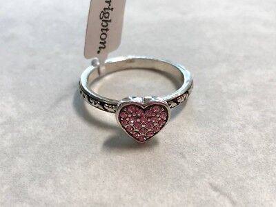 BRIGHTON Crystal Heart Ring- Pink Silver  Limited Size 9  Retail $47  NEW