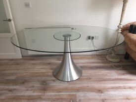 Dining Table Oval Glass Seats 6