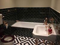 V&A Puddle Glaze Racing Green Ceramic Bathroom / Kitchen Tiles