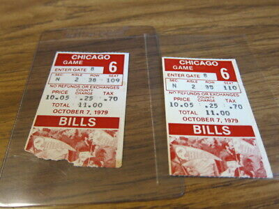 2 - 1979 Ticket Stubs Buffalo Bills vs Chicago Bears 10/07/1979