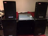Powered mixer and speakers