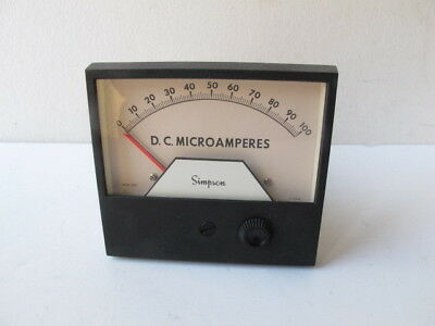 Simpson 21667 - 3324aixa Analog Panel Meter Relay 0-100 Microamperes 4 12 Ssp