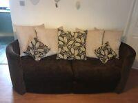 2+3 seater brown sofas