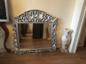 CURVED, SOLID WOOD FRAME SILVER MIRROR IN PERFECT CONDITION, REDUCED TO CLEAR, RRP£220