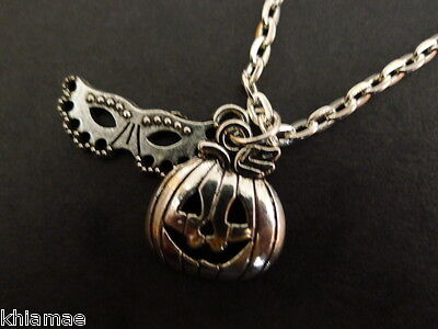 Halloween Mask & Pumpkin Necklace silver plated wiccan pagan jewellery goth - Pagan Halloween Mask