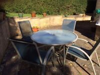 Glass Patio Table & 4 Chairs (High Quality)