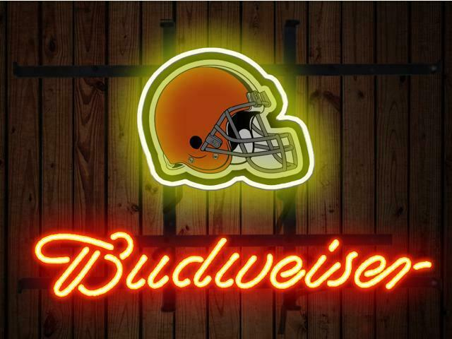 Budweiser Bud Light Cleveland Browns Neon Sign Beer Bar Gift