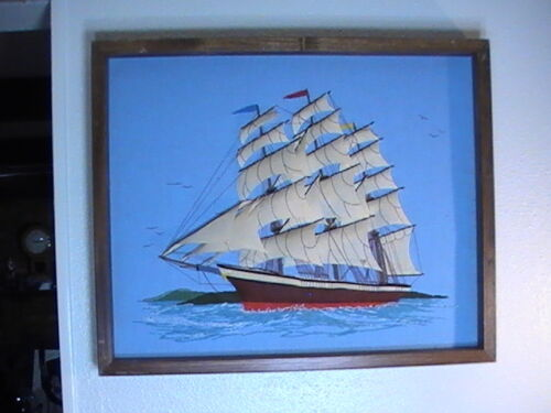 """Sailing Ship Felt Completed Needlepoint Embroidery Cross Stitch 3D 21""""x17"""" 1970s"""