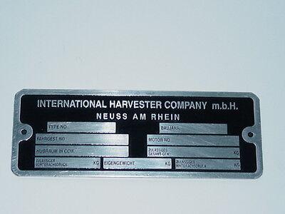 Typenschild Datenschild für IHC Traktor Schlepper Schild (40