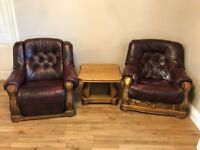Electric Recliner, fixed armchair & matching oak coffee table set