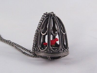 """New 34"""" Victorian Style Bird Cage Necklace with a Red Canary Bird #N2039R"""