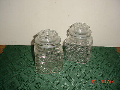 """4-PC ANCHOR HOCKING """"WEXFORD"""" 5 1/4"""" GLASS CANISTERS WITH LIDS/SEALS/CLEARANCE!"""