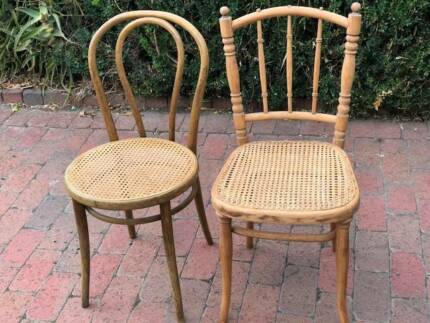 FREE DELIVERY!Rare pair of Antique Thonet Drevounia Rattan chairs