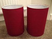 2 x red lamp shades light fitting
