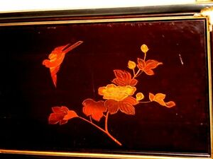 old CHINESE lacquer WALL ART SET x4 BIRDS BAMBOO IRIS DOGWOOD Cambridge Kitchener Area image 4
