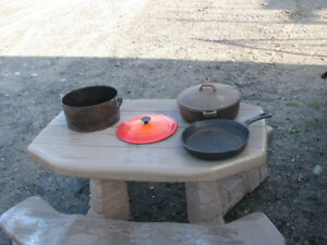 2 Cast Iron Pots and a Frying Pan