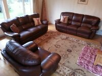 Leather 3 piece recliner suite