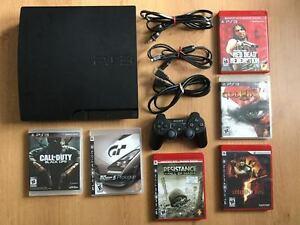 PS3 SLIM COMPLETE-MANETTE DUALSHOCK 3 -JEUX- 150$