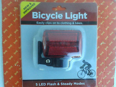 NEW Red 5 LED Flash Steady Modes Easily clips on to clothing &Bicyle Light