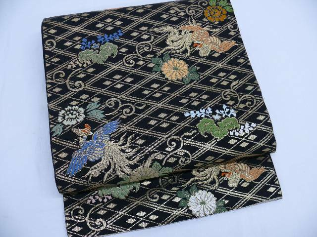 Vintage Black & Gold Silk Japanese HON FUKURO OBI w/Phoenix Q140