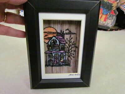 2017 Halloween Artist Signed Hand Painted Haunted House Framed Picture ~ New!