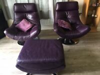 LIKE NEW 2X DHALI SWUVEL LOUNG CHAIRS WITH FOOTSTOOL