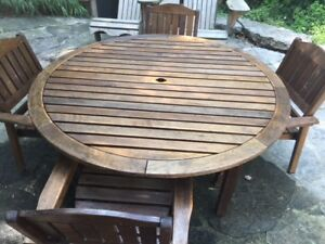 Pottery Barn Teak Table for Kids (outdoor) + 4 Chairs
