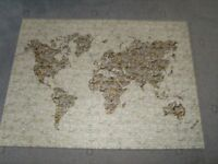 LARGE STRETCH FRAMED PICTURE OF A MAP OF THE WORLD 77 BY 57cm