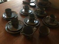 Highland Stoneware Coffee 20 Piece Set Celadron Floral Design