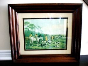 FOX HUNT Antique ART Hand Coloured Engraving in OLD heavy FRAME
