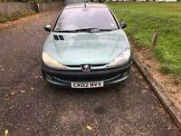 PEUGEOT 206 1100cc VERY GOOD CONDITION 78000 MILES ONE YEAR MOT NO FAULTS