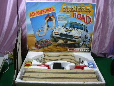 POLISTIL ADVENTURE '90 's SLOT CAR 1/43 SAHARA JEEP CHEROKEE & PORSCHE 911 W/BOX
