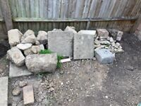 Assorted paving slabs and hardcore