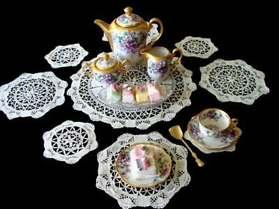GORGEOUS 9pc Antique HAND MADE Bobbin Lace Placemats Dessert, Tea or Luncheon
