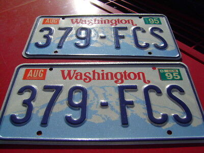 Washington License Plate Pair Pre-Owned 1995 FREE US SHIPPING