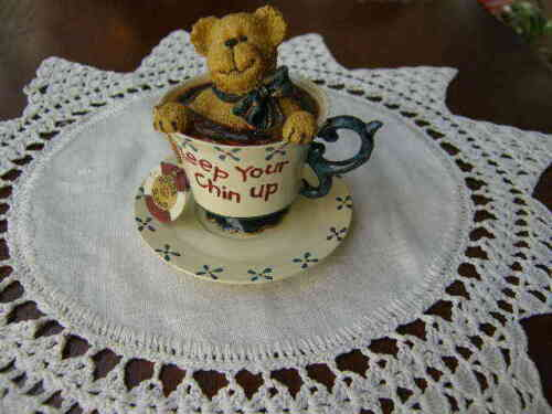 "2695) CherryTeabearie 2002 Cup & Saucer Boyd Bear ""Keep Your Chin Up""  No 24305"