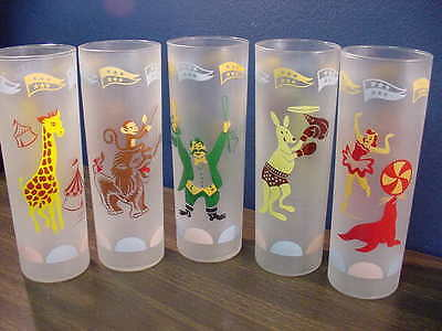 SET 5 FROSTED 1960'S CIRCUS CHARACTERS TUMBLERS - SWANKY SWIG TYPES