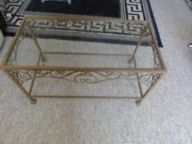 Beautiful Antique look metal and glass coffee or side table