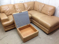 very good condition Tan brown leather corner sofa and storage footstool