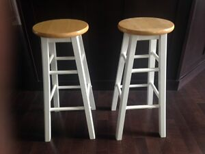 2 bar/kitchen stools (white/pine) - $25 for the pair!