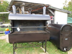 big opeb front BBQ /pig spit ,fire pits  planters and more