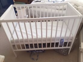 White cot from Aldi mattress not included